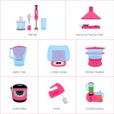 Wektorowy wizerunek ustawiający kuchenni urządzenia w menchiach ilustracja wektor