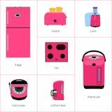Wektorowy wizerunek ustawiający kuchenni urządzenia w menchiach royalty ilustracja