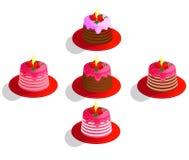 Wektorowy wizerunek ustawiający stubarwni, kolorowi torty, dekorował z cukierkiem dla dekoracji, śmietanki i czekolady na białym  ilustracji