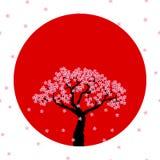 Wektorowy wizerunek w okręgu sakura słońce Japonia royalty ilustracja