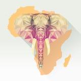 Wektorowy wizerunku słoń w płaskim projekcie z długim cieniem Geometryczna słoń ilustracja w poligonalnym stylu Obrazy Royalty Free