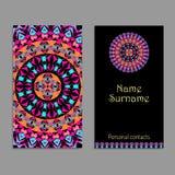 Wektorowy wizytówka szablon Etniczni plemienni ornamenty Mandala wzory Boho styl ilustracji