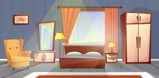 Wektorowy wnętrze sypialnia, żywy izbowy meble Obrazy Stock