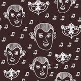 Wektorowy Wolfgang Amadeus Mozart wielostrzałowy bezszwowy deseniowy tło z Mozart, notatkami i barokową karnawał maską, royalty ilustracja