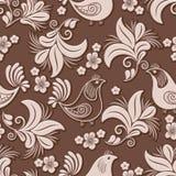 Wektorowy wolumetryczny kwiat i ptasi bezszwowy deseniowy element Elegancki luksus embossed teksturę dla tło, bezszwową Obrazy Stock