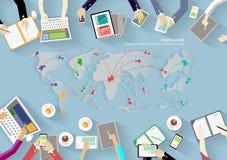 Wektorowy workspace dla biznesowych spotkań i brainstorming Tradycyjni pojęcia, sieć sztandary, media drukowani i mobilna technol royalty ilustracja