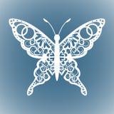 Wektorowy wycinanka motyl, Laserowa tnąca ślubu miejsca karta, Dekoracyjna karta Papierowy biel ilustracji