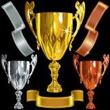 Wektorowy Wygrany złoto, srebro, brązowe filiżanki, ribbbons ilustracja wektor