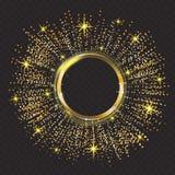 Wektorowy złocisty błyskotliwość cząsteczek tła skutek Iskrzasta tekstura Abstrakcjonistyczny tło, złoty błyska na czerni royalty ilustracja