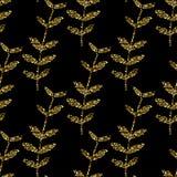Wektorowy złocisty bezszwowy wzór, kwiecista tekstura z ręką rysującą kwitnie i rośliny Ornament modny ilustracji
