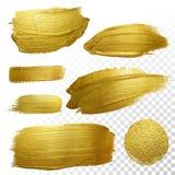 Wektorowy złocisty farba rozmazu uderzenia plamy set ilustracji
