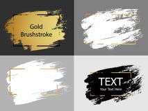 Wektorowy złota, bielu i czerni farby uderzenie z granicy ramą, dir ilustracja wektor
