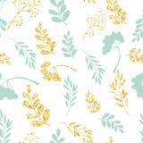 Wektorowy złoto i błękitny bezszwowy wzór Oryginalny kwiecisty ornament na białym tle Modna błyskotliwości tekstura royalty ilustracja