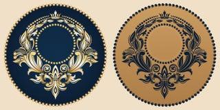 Wektorowy złoty monogram Luksusowa dekoracyjna rama royalty ilustracja