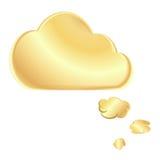 Wektorowy złoty pusty mowa bąbel w postaci chmury ilustracji