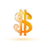 Wektorowy złocisty dolarowy symbol Obrazy Stock