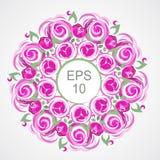 Wektorowy zaproszenie rocznika wianek z różowymi różami dla poślubiać, małżeństwo, urodziny, Valentine& x27; s dzień Obrazy Stock