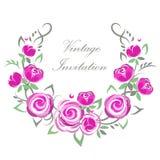 Wektorowy zaproszenie rocznika wianek z różowymi różami dla poślubiać, małżeństwo, urodziny, Valentine& x27; s dzień Zdjęcie Royalty Free