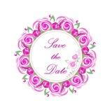 Wektorowy zaproszenie wianek z różowymi różami dla poślubiać, małżeństwo, urodziny, Valentine& x27; s dzień Zdjęcie Royalty Free