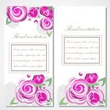 Wektorowy zaproszenie z różowymi różami dla poślubiać, małżeństwo, urodziny, Valentine& x27; s dzień Zdjęcia Royalty Free