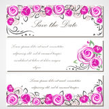 Wektorowy zaproszenie z różowymi różami dla poślubiać, małżeństwo, urodziny, Valentine& x27; s dzień Fotografia Stock