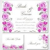 Wektorowy zaproszenie z różowymi różami dla poślubiać, małżeństwo, urodziny, Valentine& x27; s dzień Obraz Royalty Free