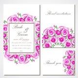 Wektorowy zaproszenie z różowymi różami dla poślubiać, małżeństwo, urodziny, Valentine& x27; s dzień Zdjęcia Stock