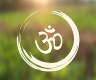 Wektorowy Zen okrąg z Om symbolem na Naturalnym tle Zdjęcie Stock