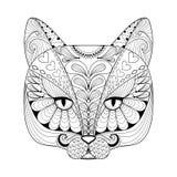 Wektorowy zentangle kota druk dla dorosłej kolorystyki strony Ręka rysujący a Fotografia Stock