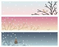 Wektorowy zima sztandar, tło przy świtem, zmierzchem i nocą i, royalty ilustracja
