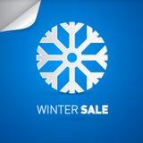 Wektorowy zimy sprzedaży tytuł i płatek śniegu Fotografia Stock