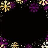 Wektorowy zimy tło z złotymi płatkami śniegu Zdjęcie Royalty Free