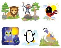 Wektorowy zwierzę set, lew, małpa, kurczak, sowa, pingwin, przepiórka, royalty ilustracja