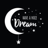 Wektorowy zwrot ładny sen dekorującą białą księżyc i gwiazdy na czarnym tle ilustracji