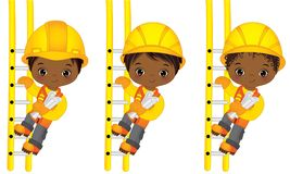 Wektorowych Ślicznych Małych amerykanin afrykańskiego pochodzenia chłopiec Wspinaczkowy Up drabiny ilustracji