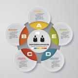 Wektorowych abstrakta 5 kroków infographic elementy Kurendy lub cyklu infographics ilustracja wektor