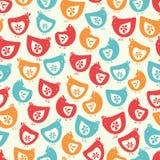 Wektorowych colourful kurnych kurczątek powtórki wzoru bezszwowy tło ilustracja wektor