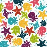Wektorowych dzieci kolorowy wzór denni zwierzęta Ilustracja Wektor