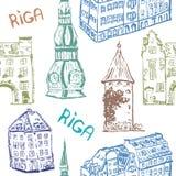 Wektorowych elementów bezszwowy wzór Ryski stary miasteczko w kolorze royalty ilustracja