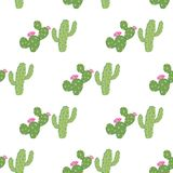 Wektorowych geometrical zielonych kaktusów bezszwowy wzór royalty ilustracja