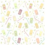 Wektorowych grafika Światowych zdrowie dzień na textured tło szkłach dla soku, sok, słoma, owoc, jabłko, banan, bonkreta, mandary royalty ilustracja