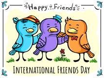Wektorowych kartka z pozdrowieniami Trzy ptaków szczęśliwy przyjaciel ilustracji
