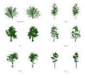 6 Wektorowych klamerki sztuki drzew Obrazy Stock