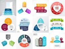 Wektorowych okrąg strzała infographic set Biznesowy diagram, wykresy, początkowa logo prezentacja, pomysł mapa Dane opcje, 3 Zdjęcie Royalty Free