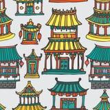 Wektorowych orientalnych domów bezszwowy wzór Royalty Ilustracja