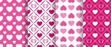 Wektorowych serc bezszwowi wzory inkasowi częstotliwa tekstura Walentynki ` s dnia tła ustawiający Piękni miłość serca jaskrawy m ilustracji