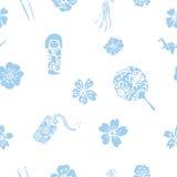 Wektorowych tradycyjnych Japońskich symboli/lów bezszwowy wzór Royalty Ilustracja