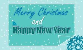 Wektorowych Wesoło bożych narodzeń i Szczęśliwego nowego roku karciany projekt Obrazy Royalty Free