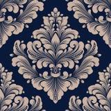 Wektoru adamaszkowy bezszwowy deseniowy element Klasyczny luksusowy staromodny adamaszkowy ornament, królewskiego wiktoriański be ilustracji