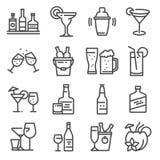 Wektoru alkoholu kreskowe ikony ustawiać na białym tle Royalty Ilustracja